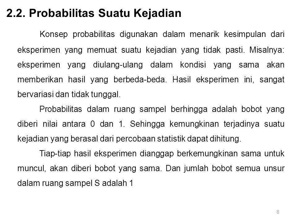 Konsep probabilitas digunakan dalam menarik kesimpulan dari eksperimen yang memuat suatu kejadian yang tidak pasti. Misalnya: eksperimen yang diulang-