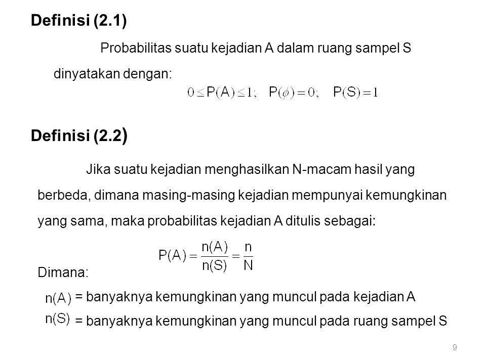 Contoh (2.2): Pada pelemparan sepasang dadu contoh (1.1) dengan Misalnya: A = Kejadian munculnya jumlah ttk 7 B = Kejadian munculnya kedua titik sama C = Kejadian munculnya jumlah titik 11 Diperoleh: 10