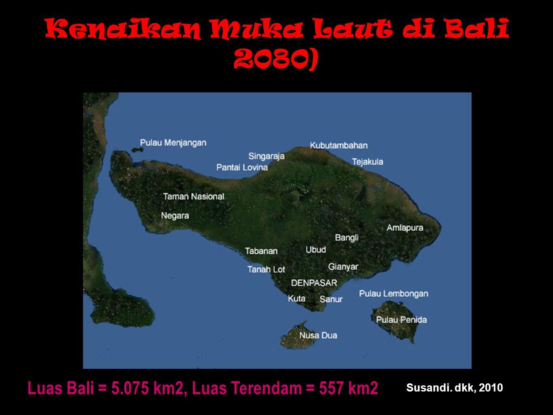 Kenaikan Muka Laut di Bali 2080) Luas Bali = 5.075 km2, Luas Terendam = 557 km2 Susandi. dkk, 2010