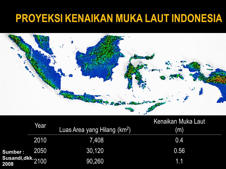 > Menggenangnya Air Laut > Rusaknya Ekosistem Pantai > Gangguan terhadap Jaringan Jalan Lintas dan Kereta Api Peningkatan Jumlah Pengungsi Hilangnya Habitat dan Spesies Hilangnya lahan-lahan budidaya Berkurangnya Produktivitas Lahan Berkurangnya Produktivitas Pertanian Berkurangnya Produktivitas Perikanan Masalah Sumber Daya Air > Terganggunya Batas Wilayah Indonesia