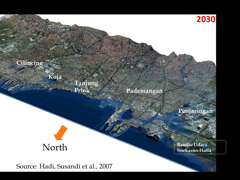 2030 Penjaringan Pademangan Tanjung Priok Koja Cilincing Bandar Udara Soekarno-Hatta Source: Hadi, Susandi et al., 2007 North
