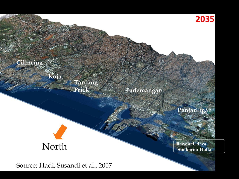 2035 Penjaringan Pademangan Tanjung Priok Koja Cilincing Bandar Udara Soekarno-Hatta Source: Hadi, Susandi et al., 2007 North