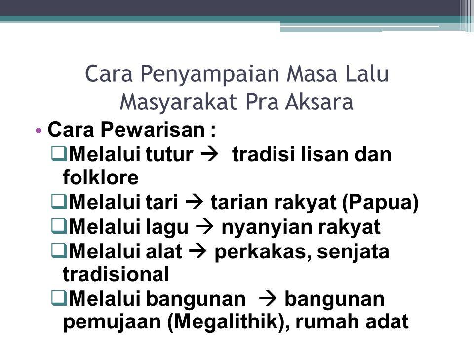 Cara Penyampaian Masa Lalu Masyarakat Pra Aksara Cara Pewarisan :  Melalui tutur  tradisi lisan dan folklore  Melalui tari  tarian rakyat (Papua)