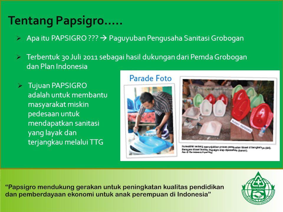  Apa itu PAPSIGRO ???  Paguyuban Pengusaha Sanitasi Grobogan  Terbentuk 30 Juli 2011 sebagai hasil dukungan dari Pemda Grobogan dan Plan Indonesia
