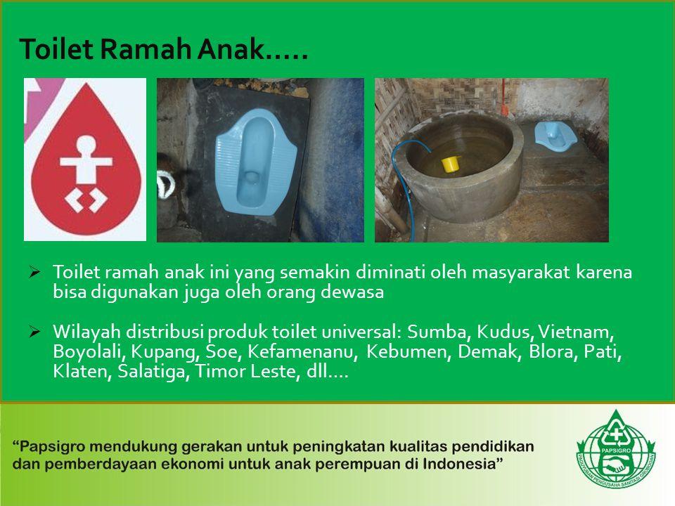  Toilet ramah anak ini yang semakin diminati oleh masyarakat karena bisa digunakan juga oleh orang dewasa  Wilayah distribusi produk toilet universa