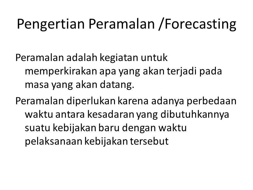 Pengertian Peramalan /Forecasting Peramalan adalah kegiatan untuk memperkirakan apa yang akan terjadi pada masa yang akan datang. Peramalan diperlukan