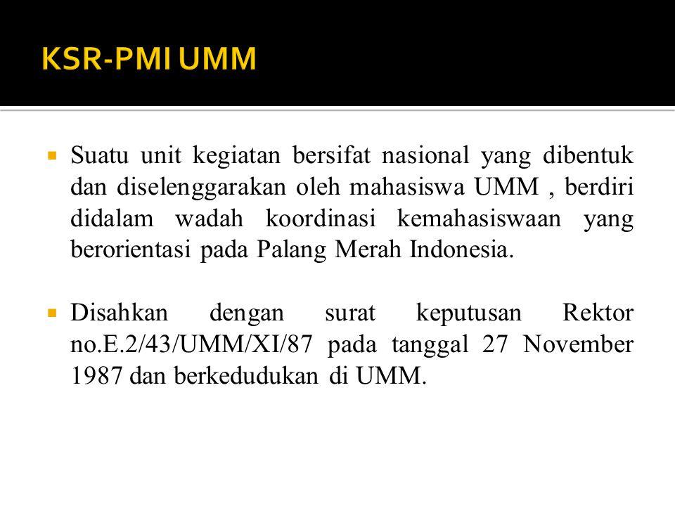  Suatu unit kegiatan bersifat nasional yang dibentuk dan diselenggarakan oleh mahasiswa UMM, berdiri didalam wadah koordinasi kemahasiswaan yang berorientasi pada Palang Merah Indonesia.