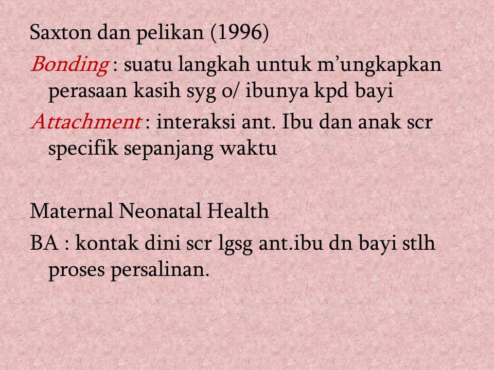 Saxton dan pelikan (1996) Bonding : suatu langkah untuk m'ungkapkan perasaan kasih syg o/ ibunya kpd bayi Attachment : interaksi ant. Ibu dan anak scr