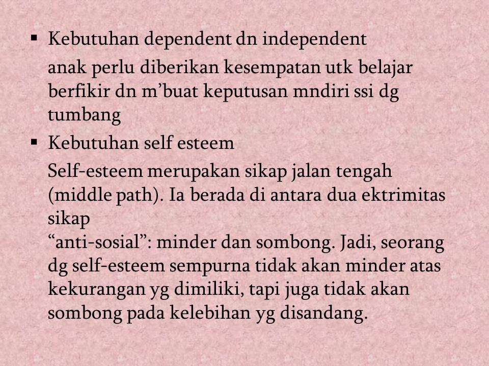  Kebutuhan dependent dn independent anak perlu diberikan kesempatan utk belajar berfikir dn m'buat keputusan mndiri ssi dg tumbang  Kebutuhan self e