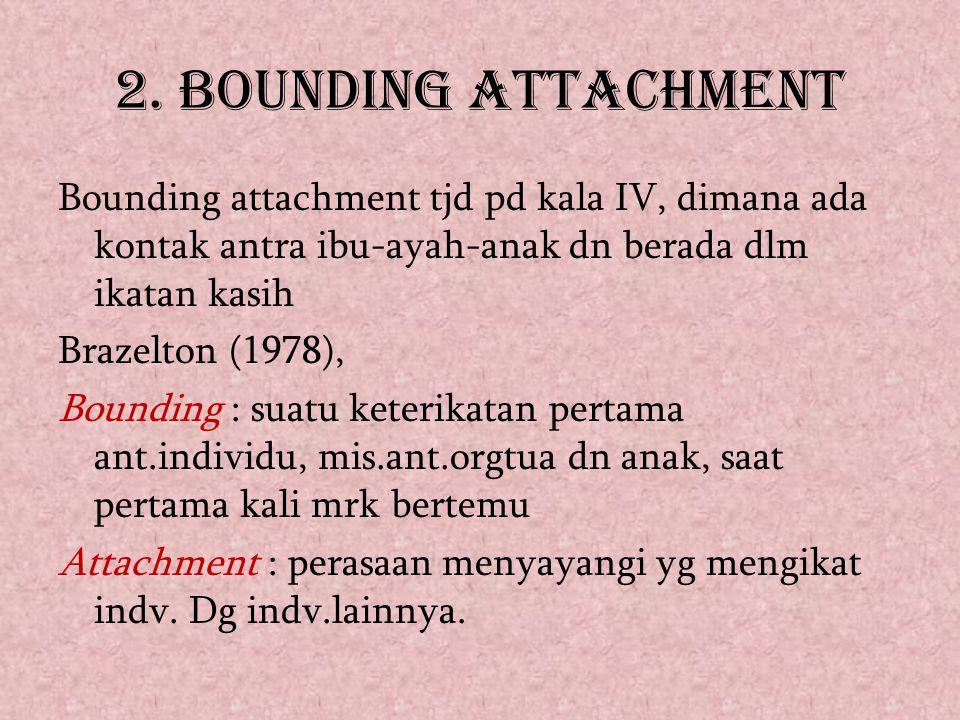 2. BOUNDING ATTACHMENT Bounding attachment tjd pd kala IV, dimana ada kontak antra ibu-ayah-anak dn berada dlm ikatan kasih Brazelton (1978), Bounding