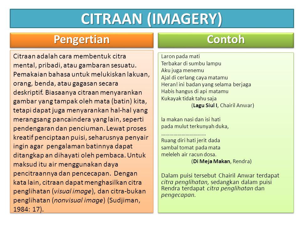 CITRAAN (IMAGERY) PengertianPengertian Citraan adalah cara membentuk citra mental, pribadi, atau gambaran sesuatu.