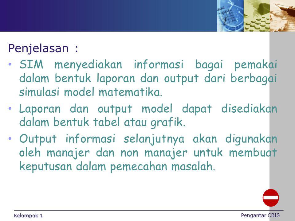 Penjelasan : SIM menyediakan informasi bagai pemakai dalam bentuk laporan dan output dari berbagai simulasi model matematika. Laporan dan output model