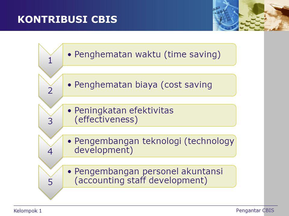KONTRIBUSI CBIS 1 Penghematan waktu (time saving) 2 Penghematan biaya (cost saving 3 Peningkatan efektivitas (effectiveness) 4 Pengembangan teknologi