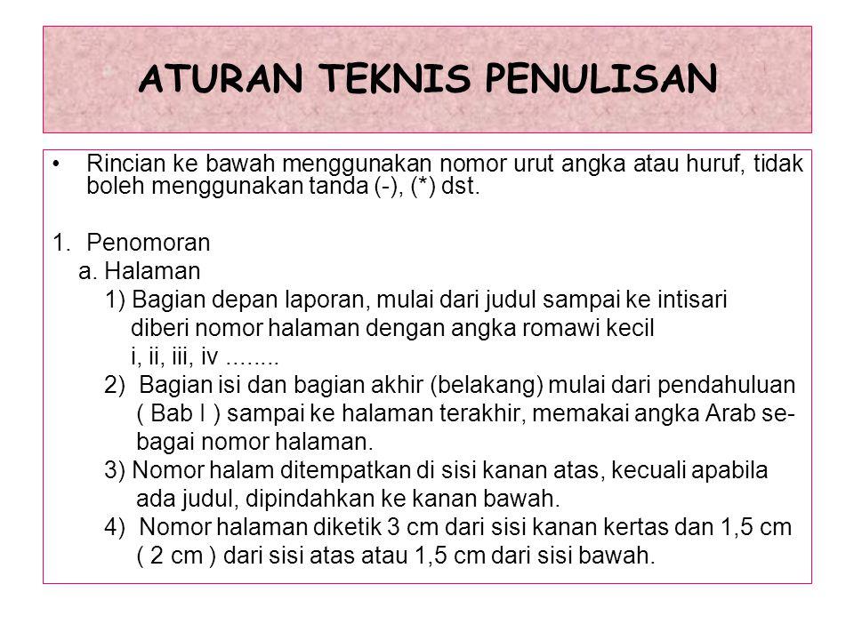 ATURAN TEKNIS PENULISAN 4.Tabel a.