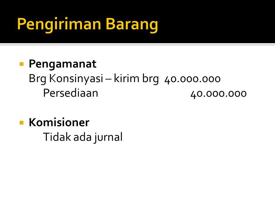  Pengamanat Brg Konsinyasi – kirim brg 40.000.000 Persediaan 40.000.000  Komisioner Tidak ada jurnal