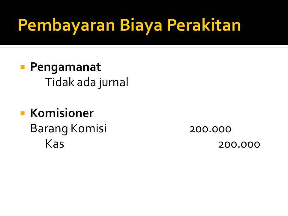  Pengamanat Tidak ada jurnal  Komisioner Barang Komisi200.000 Kas200.000