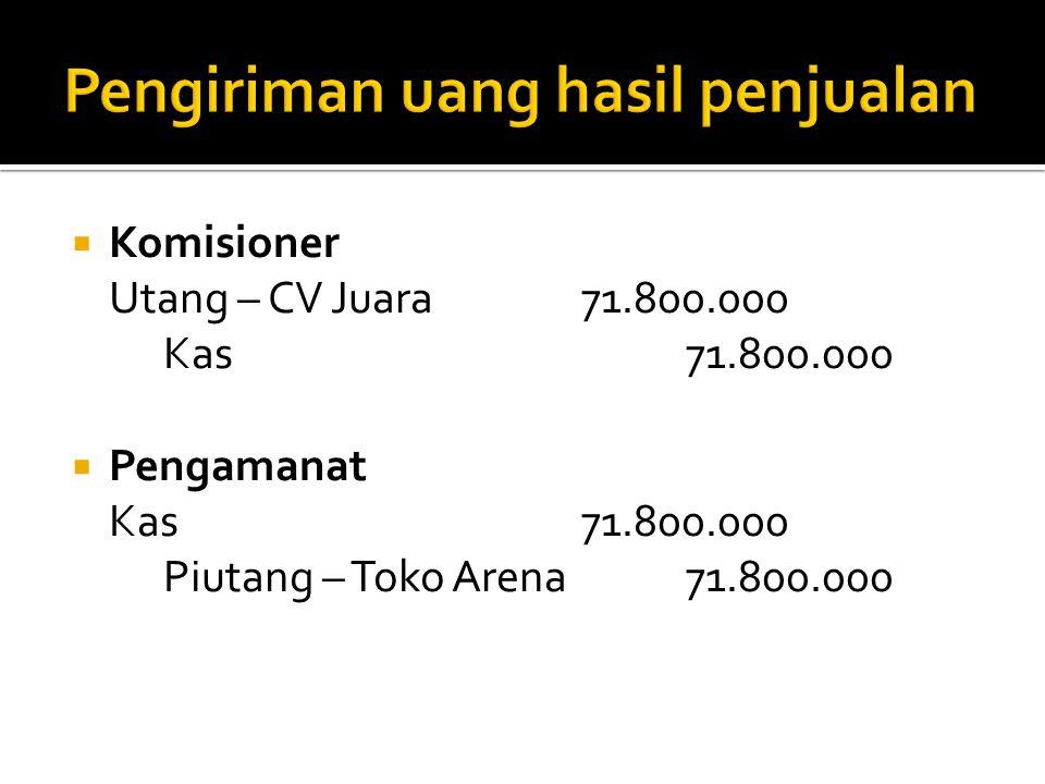  Komisioner Utang – CV Juara71.800.000 Kas71.800.000  Pengamanat Kas71.800.000 Piutang – Toko Arena71.800.000