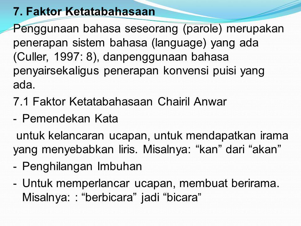 7. Faktor Ketatabahasaan Penggunaan bahasa seseorang (parole) merupakan penerapan sistem bahasa (language) yang ada (Culler, 1997: 8), danpenggunaan b