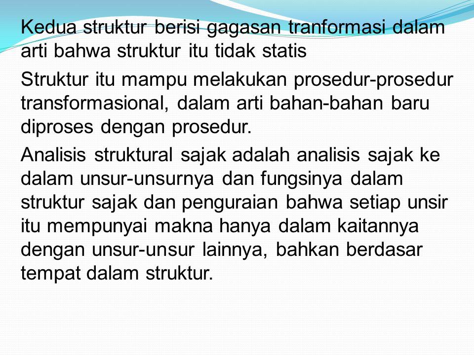 Kedua struktur berisi gagasan tranformasi dalam arti bahwa struktur itu tidak statis Struktur itu mampu melakukan prosedur-prosedur transformasional,
