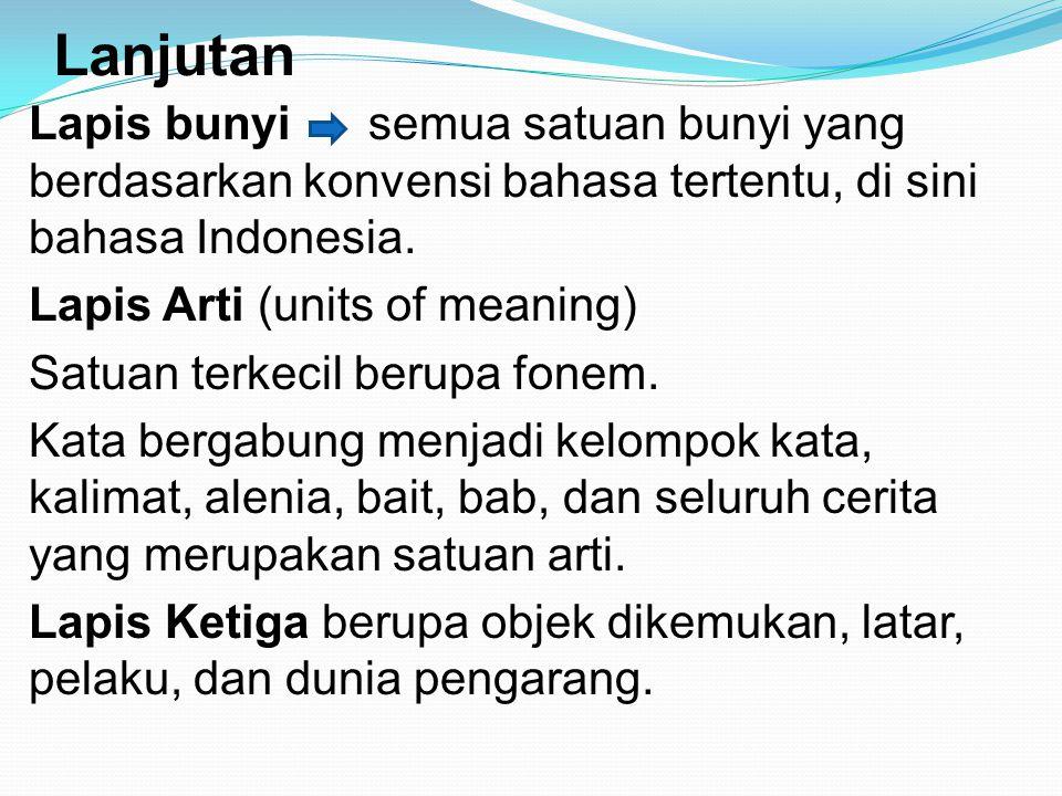 Lanjutan Lapis bunyi semua satuan bunyi yang berdasarkan konvensi bahasa tertentu, di sini bahasa Indonesia. Lapis Arti (units of meaning) Satuan terk