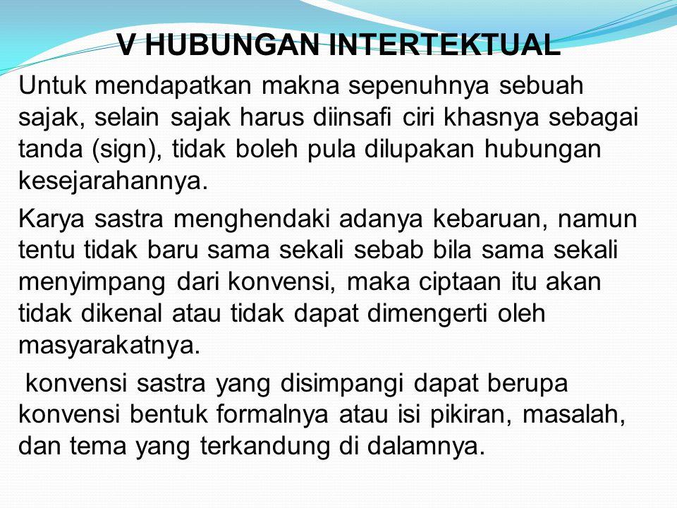 V HUBUNGAN INTERTEKTUAL Untuk mendapatkan makna sepenuhnya sebuah sajak, selain sajak harus diinsafi ciri khasnya sebagai tanda (sign), tidak boleh pu