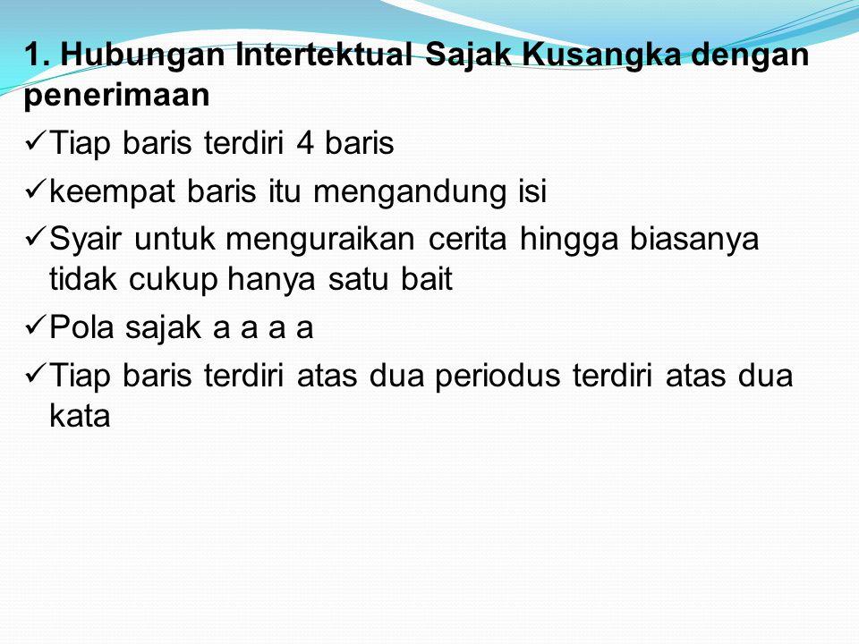 1. Hubungan Intertektual Sajak Kusangka dengan penerimaan Tiap baris terdiri 4 baris keempat baris itu mengandung isi Syair untuk menguraikan cerita h