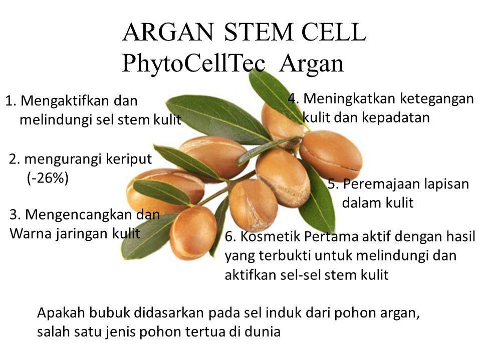 ARGAN STEM CELL PhytoCellTec Argan 1. Mengaktifkan dan melindungi sel stem kulit 4. Meningkatkan ketegangan kulit dan kepadatan 5. Peremajaan lapisan