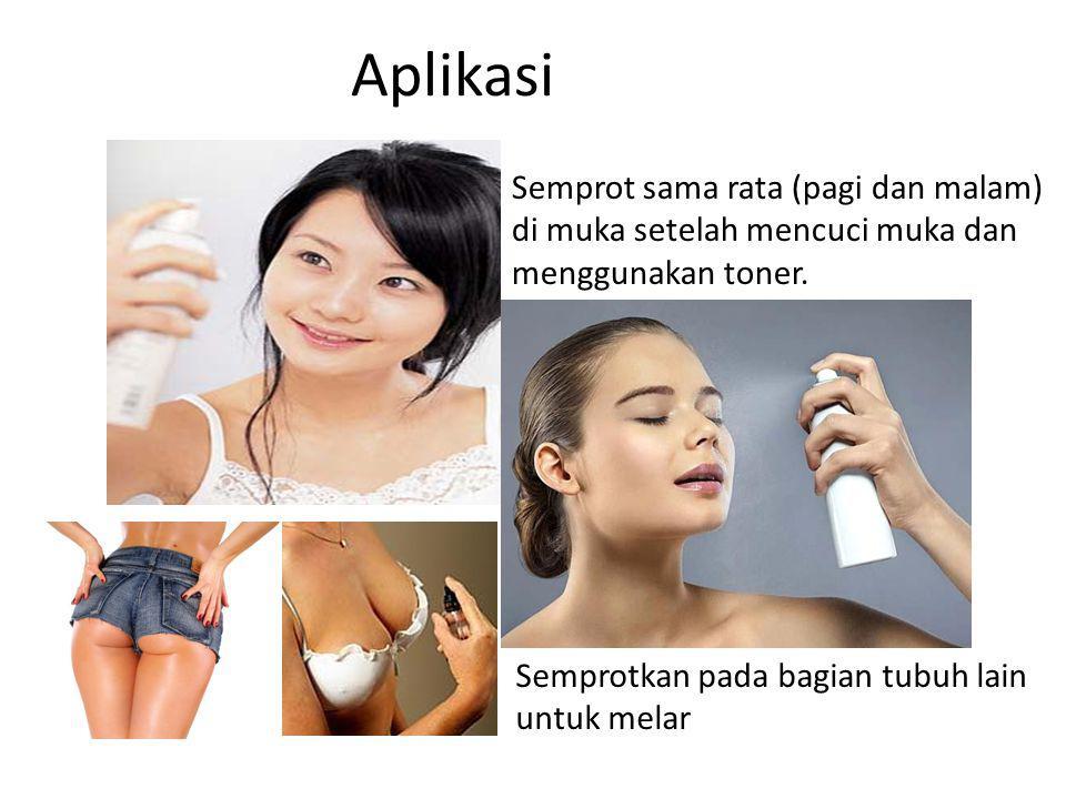 Semprot sama rata (pagi dan malam) di muka setelah mencuci muka dan menggunakan toner. Aplikasi Semprotkan pada bagian tubuh lain untuk melar