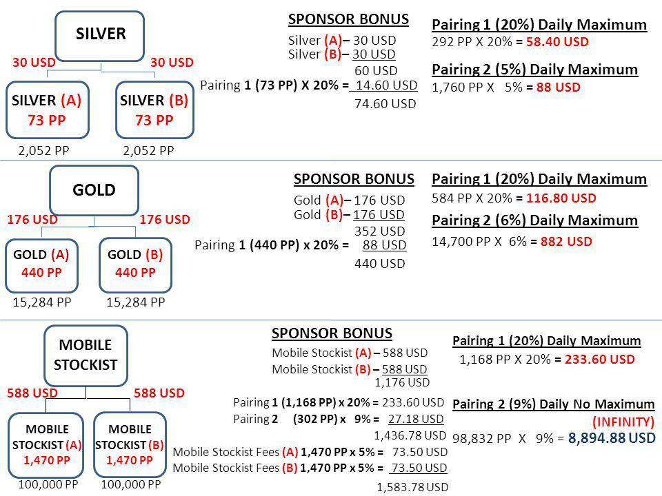 SILVER SILVER (B) 73 PP SILVER (A) 73 PP 30 USD 2,052 PP SPONSOR BONUS Silver (A)– 30 USD Silver (B)– 30 USD 60 USD Pairing 1 (73 PP) X 20% = 14.60 US
