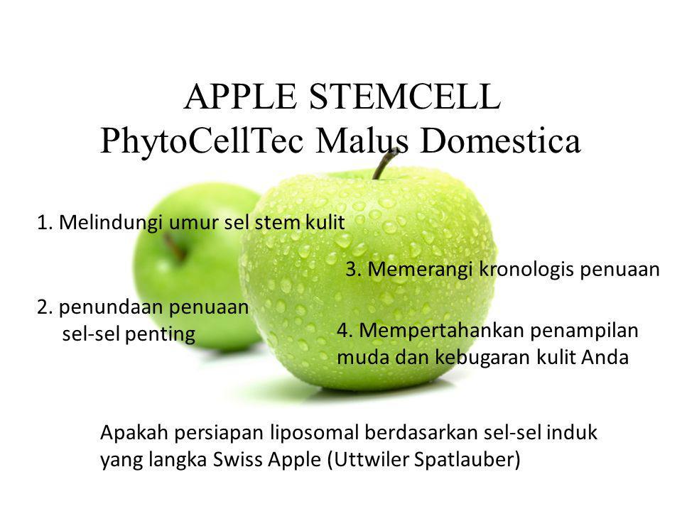 APPLE STEMCELL PhytoCellTec Malus Domestica 1. Melindungi umur sel stem kulit 2. penundaan penuaan sel-sel penting 3. Memerangi kronologis penuaan 4.