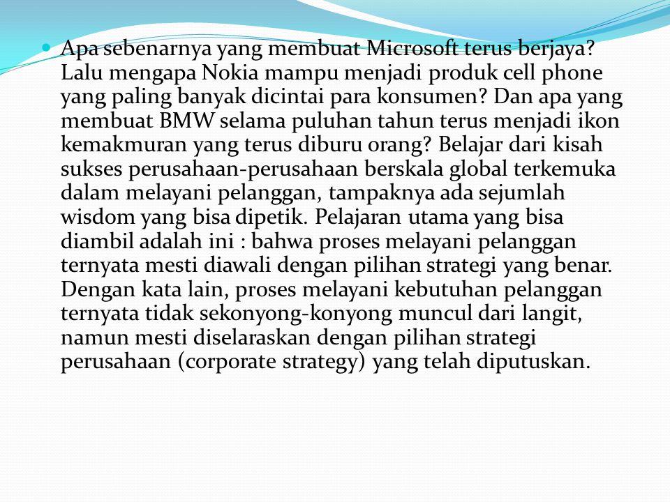 Apa sebenarnya yang membuat Microsoft terus berjaya? Lalu mengapa Nokia mampu menjadi produk cell phone yang paling banyak dicintai para konsumen? Dan