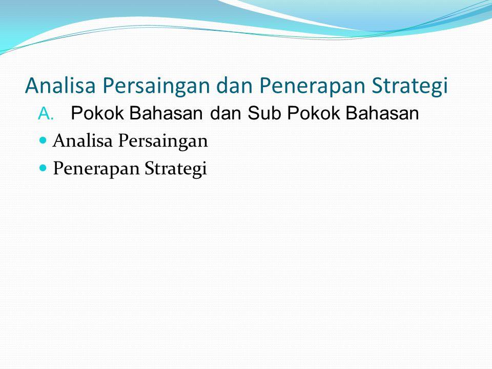 Analisa Persaingan dan Penerapan Strategi A. Pokok Bahasan dan Sub Pokok Bahasan Analisa Persaingan Penerapan Strategi