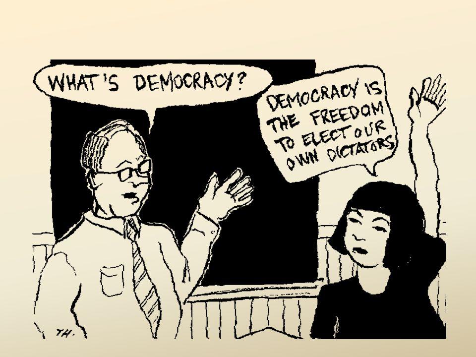 Demokrasi adalah bentuk atau mekanisme sistem pemerintahan suatu negara sebagai upaya mewujudkan kedaulatan rakyat (kekuasaan warganegara) atas negara untuk dijalankan oleh pemerintah negara tersebut.