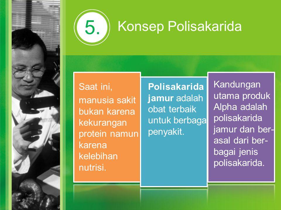5. Konsep Polisakarida Saat ini, manusia sakit bukan karena kekurangan protein namun karena kelebihan nutrisi. Polisakarida jamur adalah obat terbaik