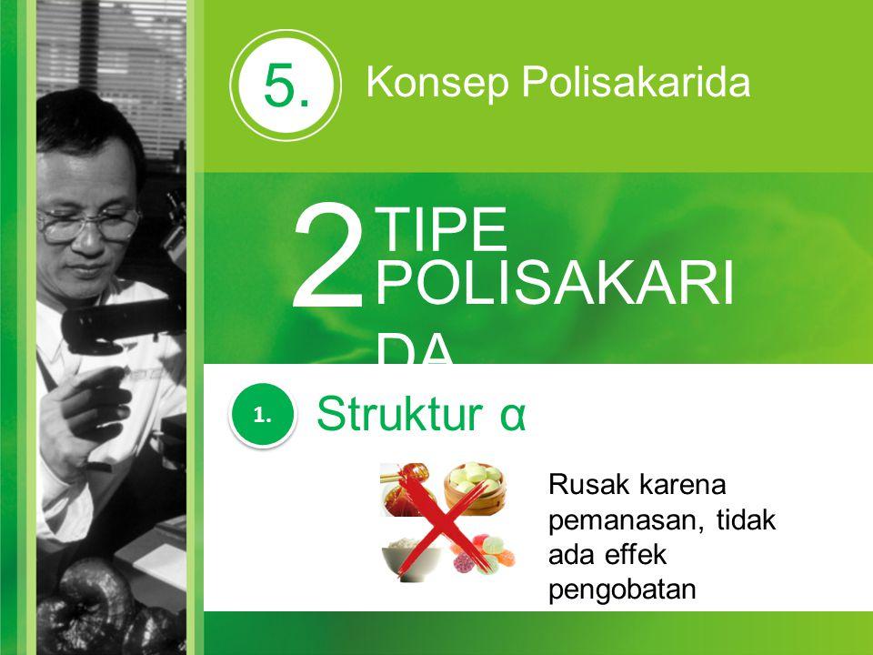 5. Konsep Polisakarida 2 TIPE POLISAKARI DA Rusak karena pemanasan, tidak ada effek pengobatan 1. Struktur α