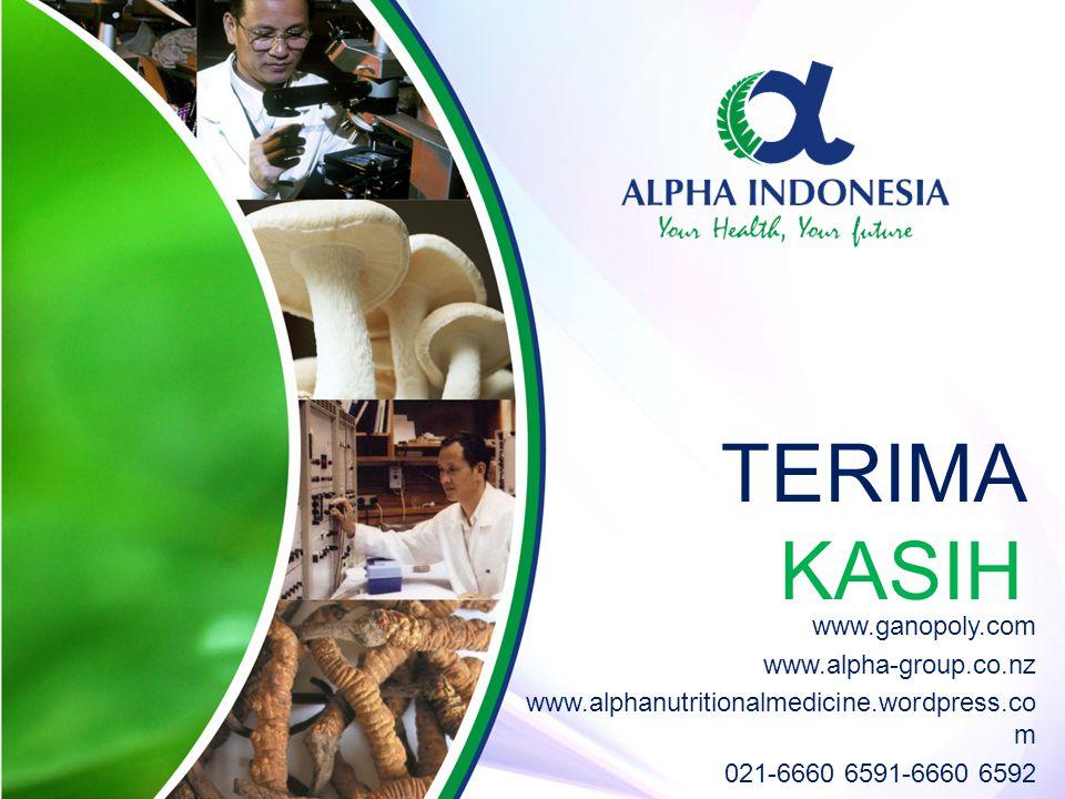 TERIMA KASIH www.ganopoly.com www.alpha-group.co.nz www.alphanutritionalmedicine.wordpress.co m 021-6660 6591-6660 6592