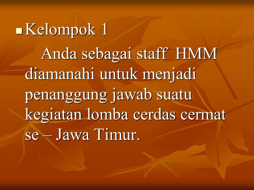 Kelompok 1 Kelompok 1 Anda sebagai staff HMM diamanahi untuk menjadi penanggung jawab suatu kegiatan lomba cerdas cermat se – Jawa Timur.