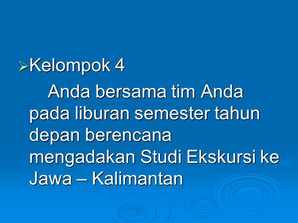  Kelompok 4 Anda bersama tim Anda pada liburan semester tahun depan berencana mengadakan Studi Ekskursi ke Jawa – Kalimantan