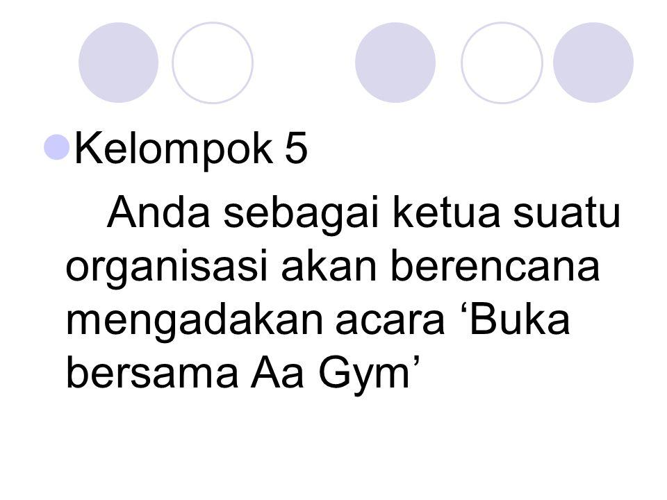 Kelompok 5 Anda sebagai ketua suatu organisasi akan berencana mengadakan acara 'Buka bersama Aa Gym'