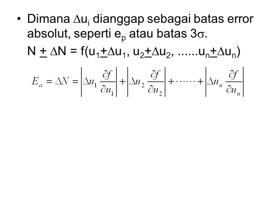 Dimana  u i dianggap sebagai batas error absolut, seperti e p atau batas 3 . N +  N = f(u 1 +  u 1, u 2 +  u 2,......u n +  u n )
