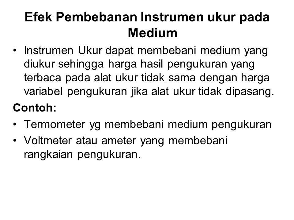 Efek Pembebanan Instrumen ukur pada Medium Instrumen Ukur dapat membebani medium yang diukur sehingga harga hasil pengukuran yang terbaca pada alat uk