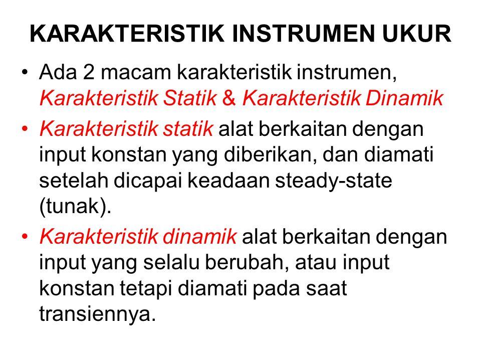 KARAKTERISTIK INSTRUMEN UKUR Ada 2 macam karakteristik instrumen, Karakteristik Statik & Karakteristik Dinamik Karakteristik statik alat berkaitan den