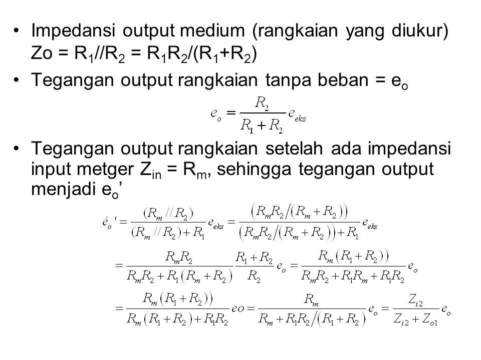 Impedansi output medium (rangkaian yang diukur) Zo = R 1 //R 2 = R 1 R 2 /(R 1 +R 2 ) Tegangan output rangkaian tanpa beban = e o Tegangan output rang
