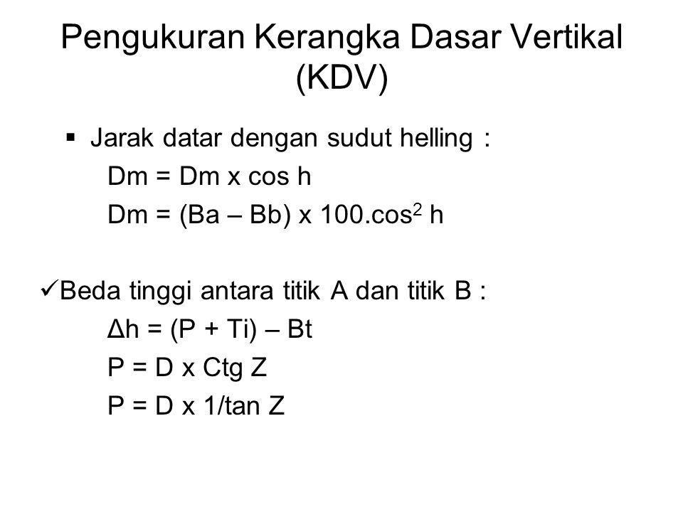 Pengukuran Kerangka Dasar Vertikal (KDV)  Jarak datar dengan sudut helling : Dm = Dm x cos h Dm = (Ba – Bb) x 100.cos 2 h Beda tinggi antara titik A