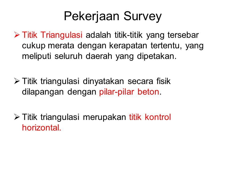 Pekerjaan Survey  Titik Triangulasi adalah titik-titik yang tersebar cukup merata dengan kerapatan tertentu, yang meliputi seluruh daerah yang dipeta