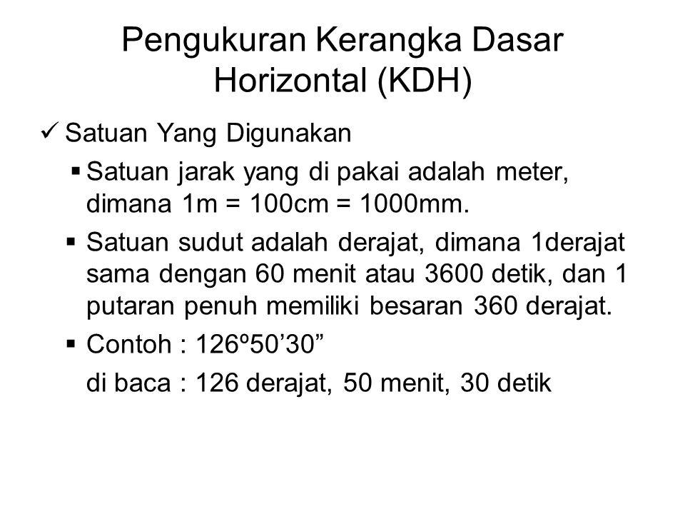 Pengukuran Kerangka Dasar Horizontal (KDH) Satuan Yang Digunakan  Satuan jarak yang di pakai adalah meter, dimana 1m = 100cm = 1000mm.  Satuan sudut