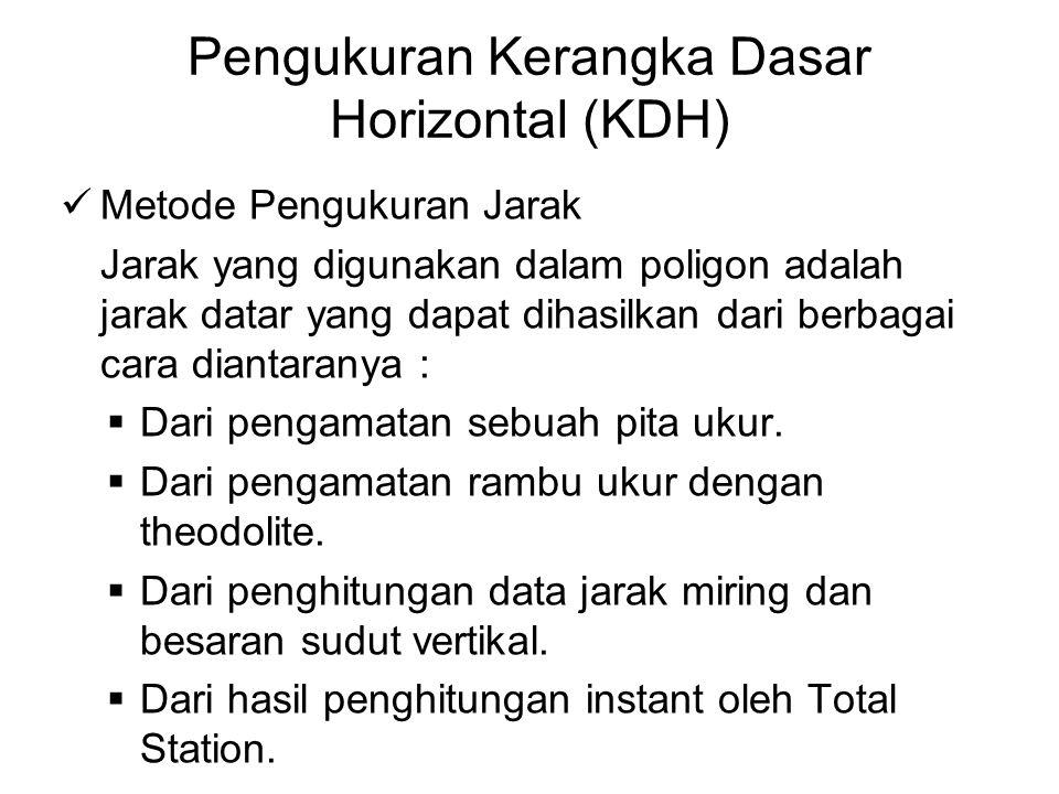 Pengukuran Kerangka Dasar Horizontal (KDH) Metode Pengukuran Jarak Jarak yang digunakan dalam poligon adalah jarak datar yang dapat dihasilkan dari be