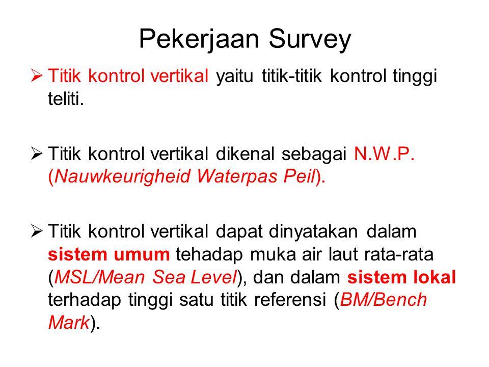 Pekerjaan Survey  Titik kontrol vertikal yaitu titik-titik kontrol tinggi teliti.  Titik kontrol vertikal dikenal sebagai N.W.P. (Nauwkeurigheid Wat