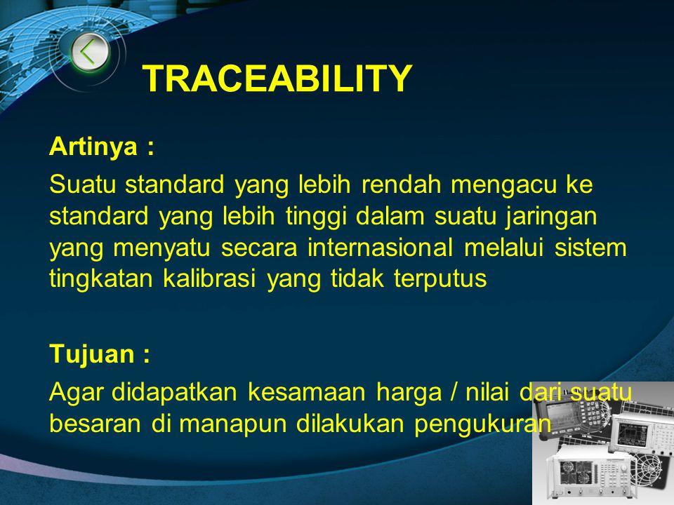 LOGO TRACEABILITY Artinya : Suatu standard yang lebih rendah mengacu ke standard yang lebih tinggi dalam suatu jaringan yang menyatu secara internasio