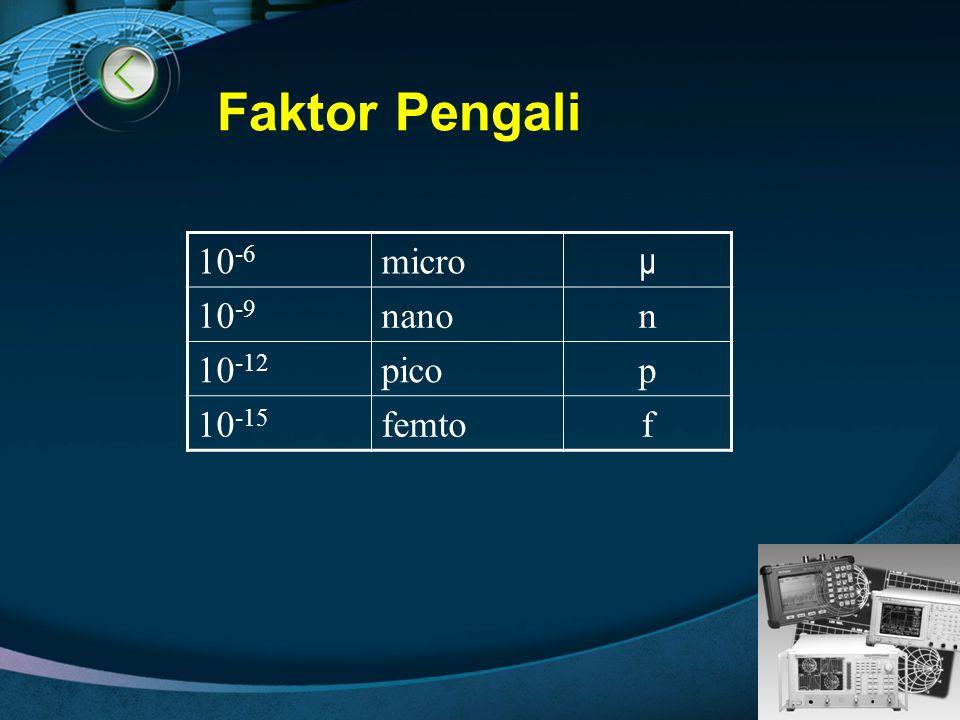 LOGO Faktor Pengali 10 -6 micro μ 10 -9 nanon 10 -12 picop 10 -15 femtof